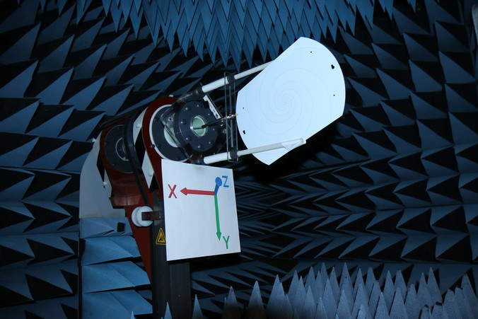 The Log Spiral antenna in the anechoic chamber